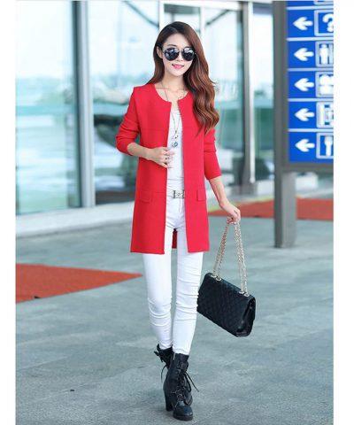Áo khoác lazer form dài 2 lớp sành điệu đỏ