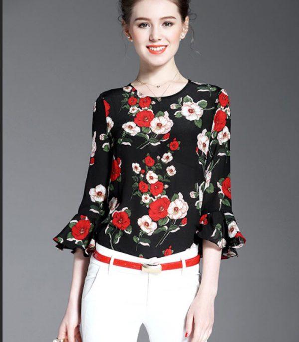 Áo kiểu họa tiết hoa hồng tay loe HENRI hình 2