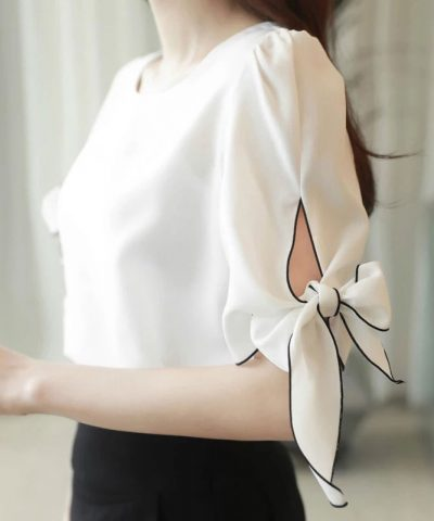 Áo kiểu tay thắt nơ viền màu thanh lịch DISSI