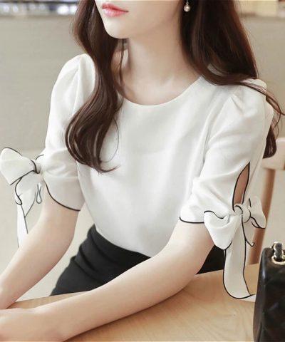 Áo kiểu tay thắt nơ viền màu thanh lịch DISSI hình 1