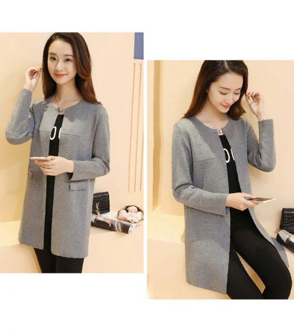 Áo len form dài 2 túi phong cách Hàn Quốc hình 5
