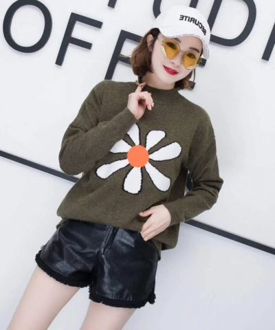 Áo len họa tiết hoa Hàn Quốc cao cấp hình 1
