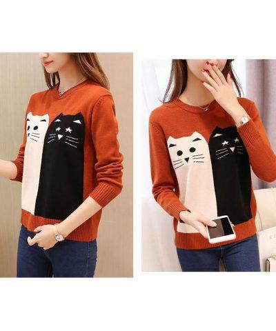 Áo len họa tiết mèo xinh cao cấp cam