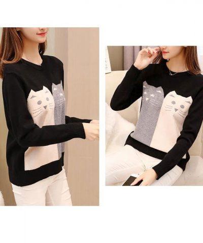 Áo len họa tiết mèo xinh cao cấp đen
