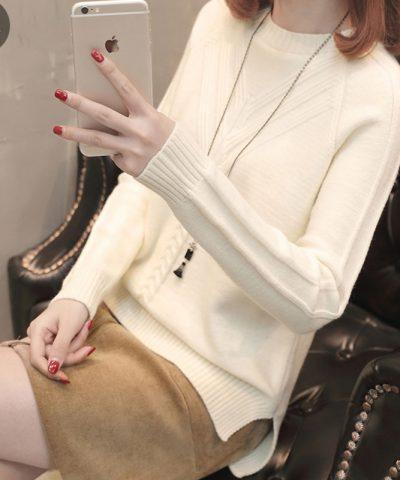 Áo len kiểu 2 đường dập nổi tay dài hinh 1