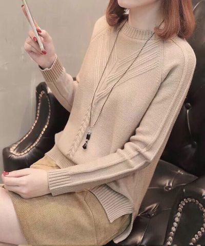 Áo len kiểu 2 đường dập nổi tay dài hình 2