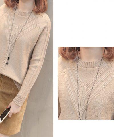 Áo len kiểu 2 đường dập nổi tay dài hình 3