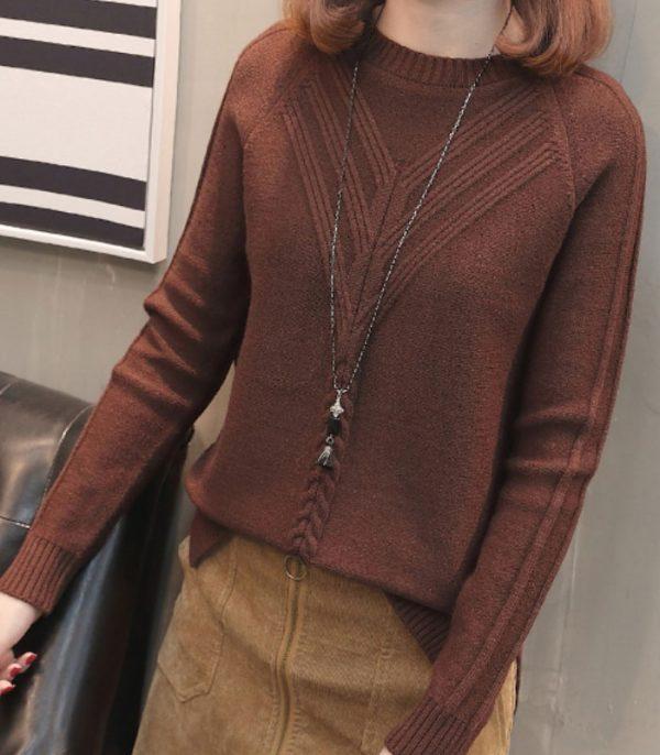 Áo len kiểu 2 đường dập nổi tay dài hình 5