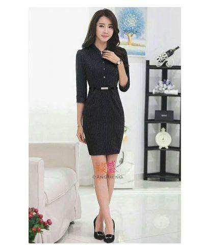 Đầm công sở họa tiết sọc cổ trụ PENTA đen