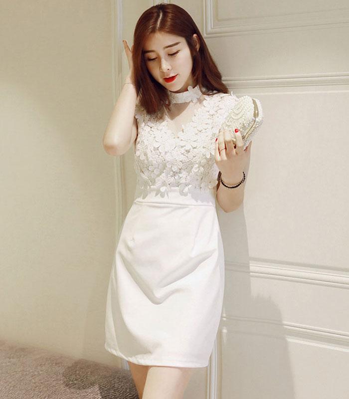 Đầm dự tiệc phối ren hoa mai cao cấp trắng