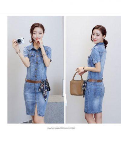 Đầm jean body tay ngắn phối túi cách điệu hình 3