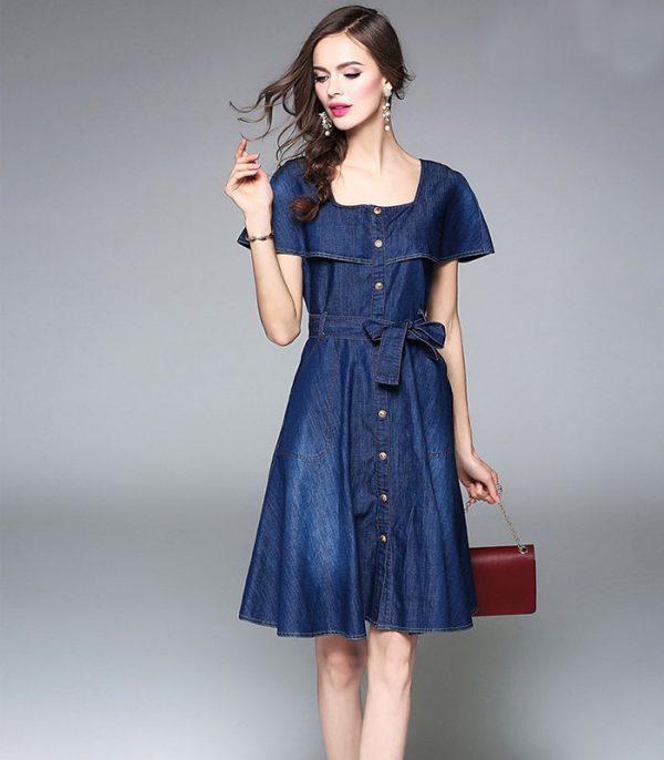 Đầm jean xòe dạo phố cổ vuông cách điệu