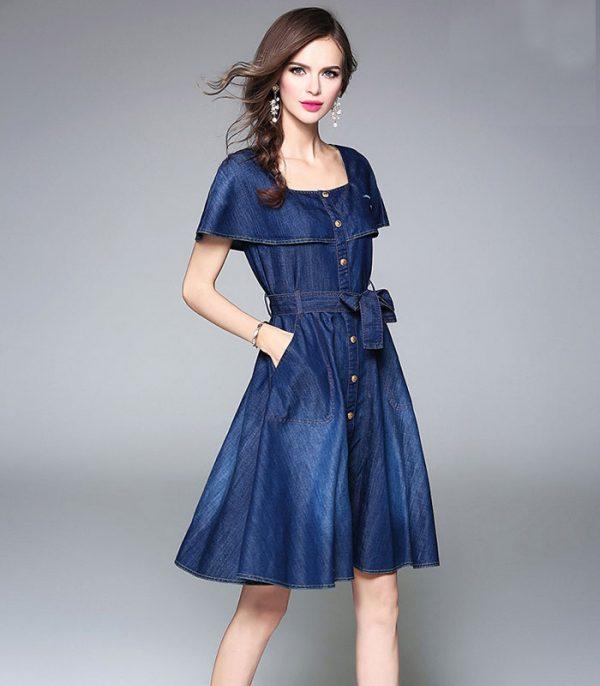 Đầm jean xòe dạo phố cổ vuông cách điệu hình 1
