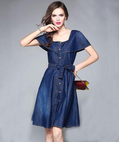 Đầm jean xòe dạo phố cổ vuông cách điệu hình 2