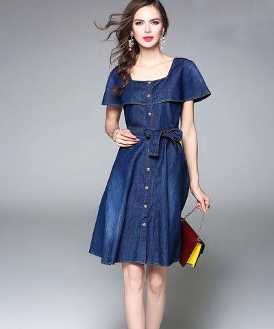 Đầm jean xòe dạo phố cổ vuông cách điệu hình 4