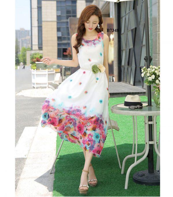 Đầm maxi chân hoa kèm thắt lưng cao cấp trắng hình 1