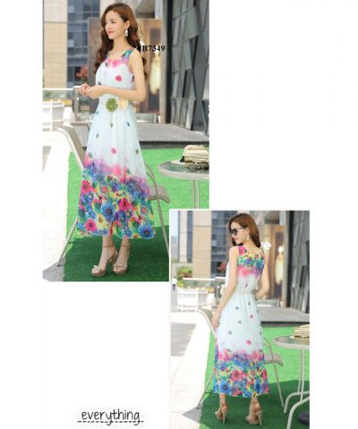 Đầm maxi chân hoa kèm thắt lưng cao cấp xanh lơ hình 2