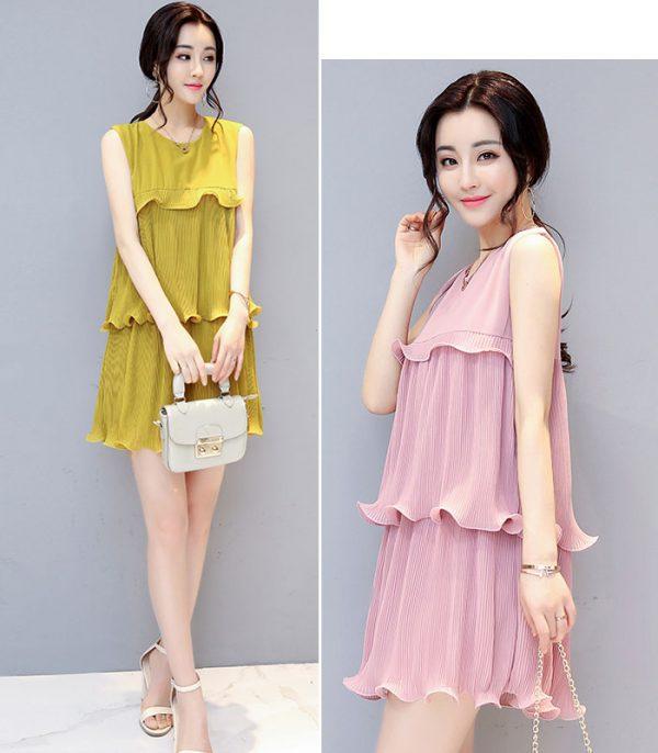 Đầm xòe dập ly 3 tầng cách điệu Quảng Châu