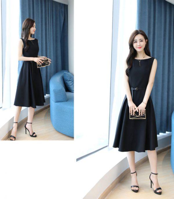 Đầm xòe dự tiệc xếp ly cao cấp Hàn Quốc hình 2