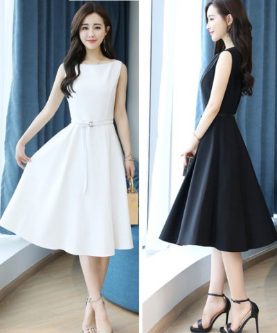 Đầm xòe dự tiệc xếp ly cao cấp Hàn Quốc hình 1