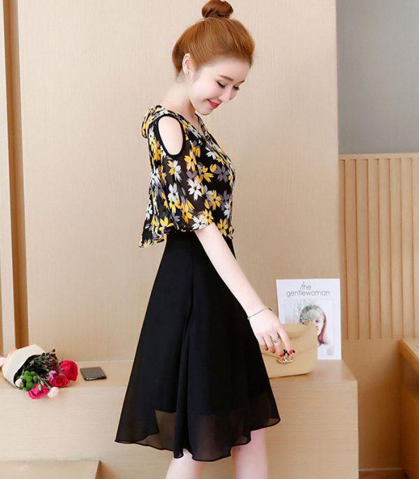 Đầm xòe họa tiết hoa cao cấp RENTA hình 3