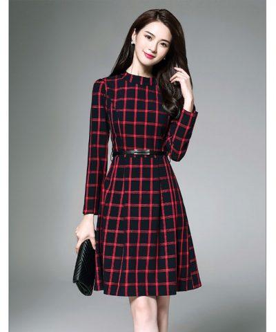 Đầm xòe thu đông họa tiết caro xinh xắn đỏ