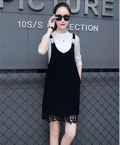 Set đầm yếm với áo len tay dài cao cấp đen