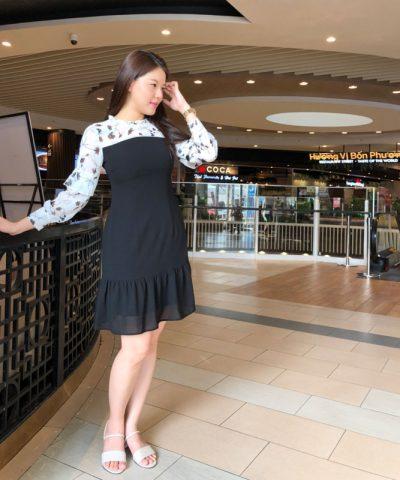 Đầm công sở cổ nhún với váy nhún bèo lớn