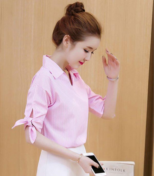 Áo kiểu phối sọc tay nơ duyên dáng 1