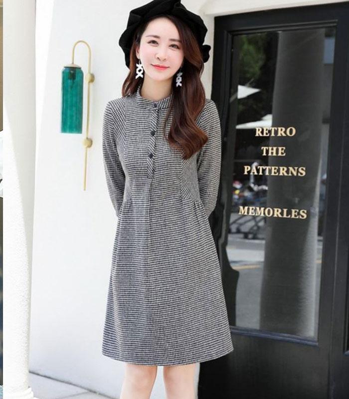 Đầm caro phối túi tay lở cao cấp hình 1