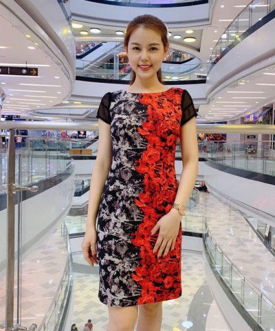 Đầm suông cổ thuyền phối màu đỏ đen phần tay phối lưới thun cách điệu