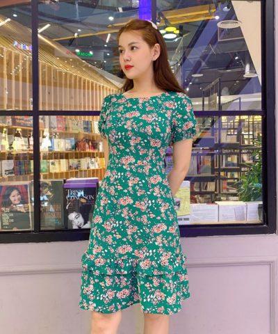 Đầm xòe cổ tròn phối bèo tầng xanh lá cây họa tiết hoa xinh xắn hình 2