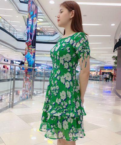 Đầm xòe phối tầng tay áo phối dây rút sắc xanh lá họa tiết hoa hình 2