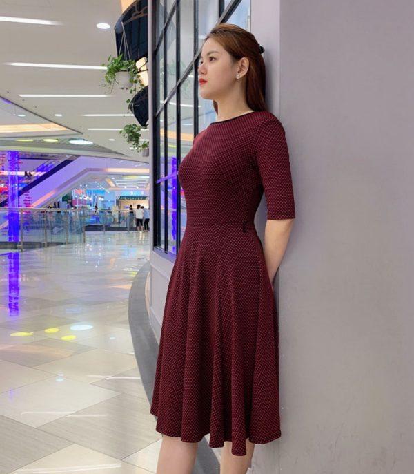 Đầm xòe tay lửng họa tiết chấm bi duyên dáng hih 2
