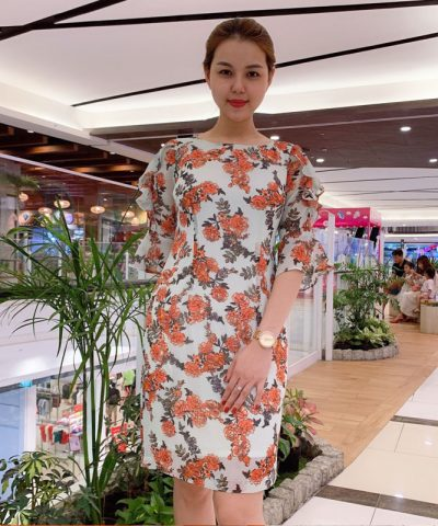 Đầm xòe tay lửng phối bèo cách điệu họa tiết hoa cam nổi bật xinh xắn hình 1