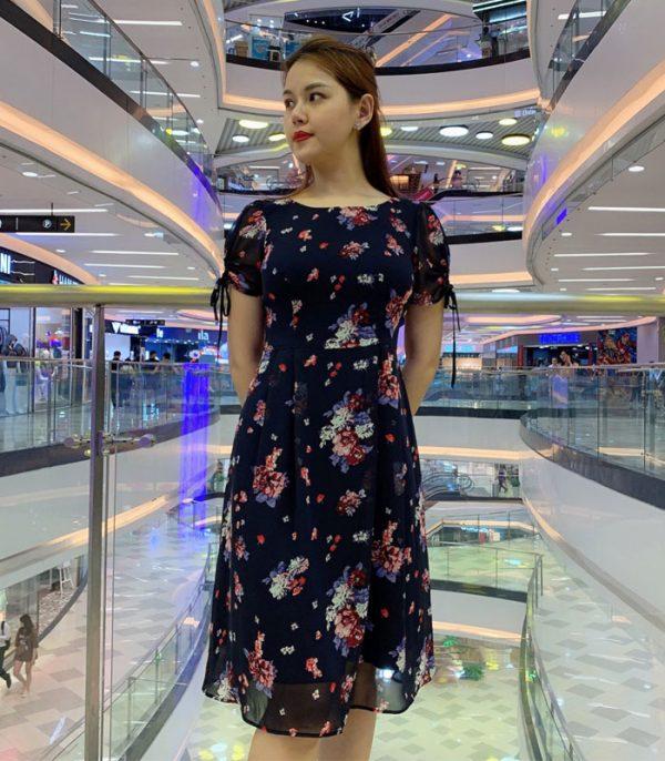 Đầm suông phần tay voan thắt nơ xinh xắn duyên dáng với váy voan