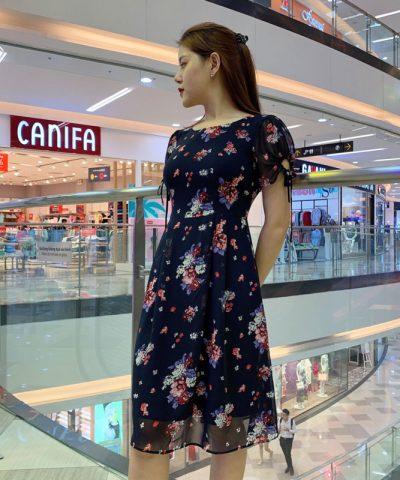 Đầm suông phần tay voan thắt nơ xinh xắn duyên dáng với váy voan hình 2