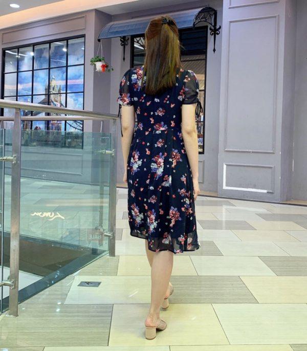 Đầm suông phần tay voan thắt nơ xinh xắn duyên dáng với váy voan hình 3
