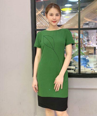Đầm suông xanh lá chân váy phối sắc đen bản lớn mới lạ hình 3