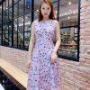 Đầm xòe sát nách ren cotton hoa hồng xanh nhẹ nhàng hinh 1