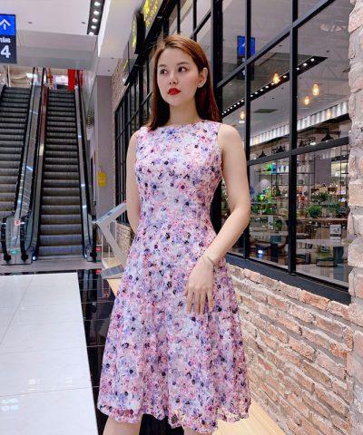 Đầm xòe sát nách ren cotton hoa hồng xanh nhẹ nhàng hinh 2