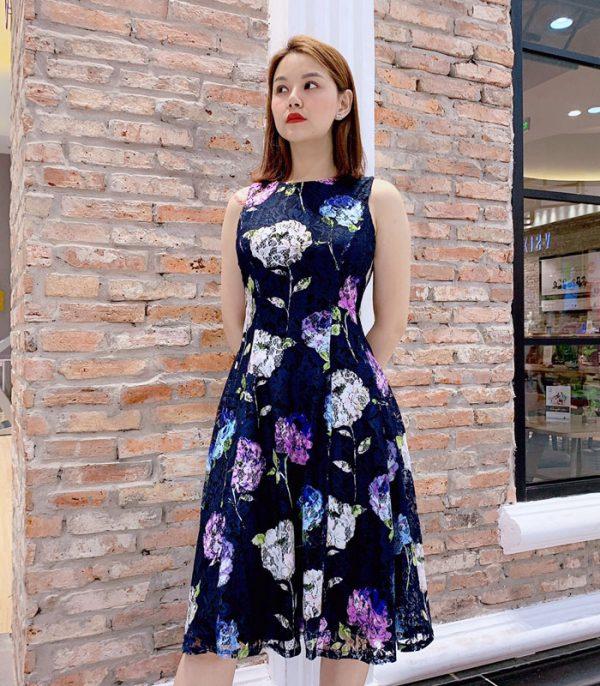 Đầm xòe sát nách ren cotton xanh đen họa tiết hoa lớn hinh 1
