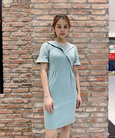 Đầm ôm thiết kế cổ V trơn một màu đơn giản