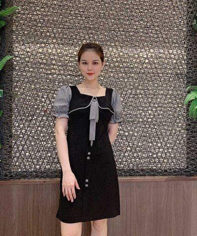 Đầm dáng chữ A tay phồng cổ áo thắt nơ duyên dáng màu đen