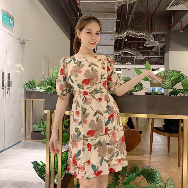 Đầm suông tay lỡ họa tiết hoa màu nâu đất