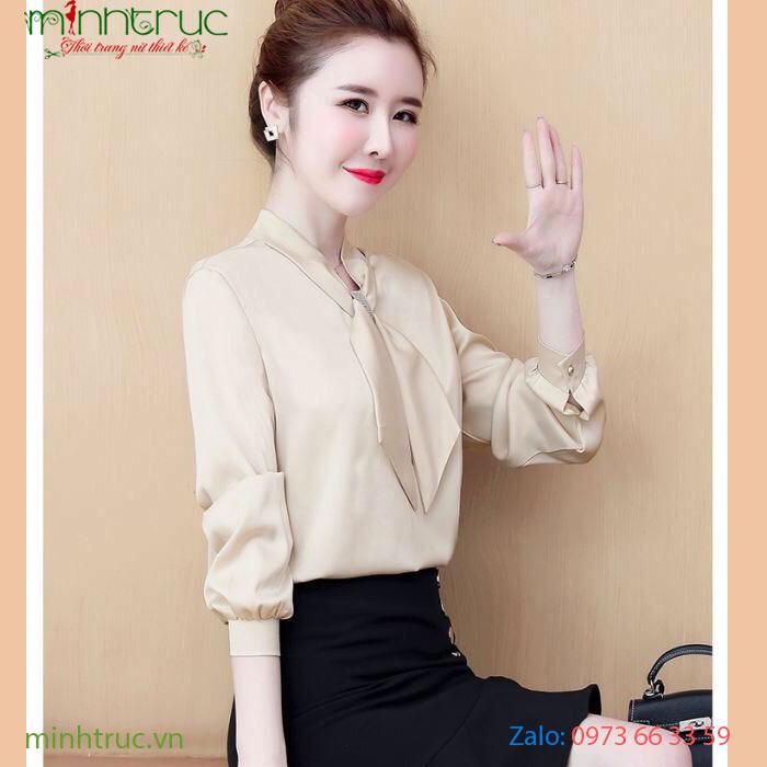 Áo kiểu nữ thắt nơ màu kem