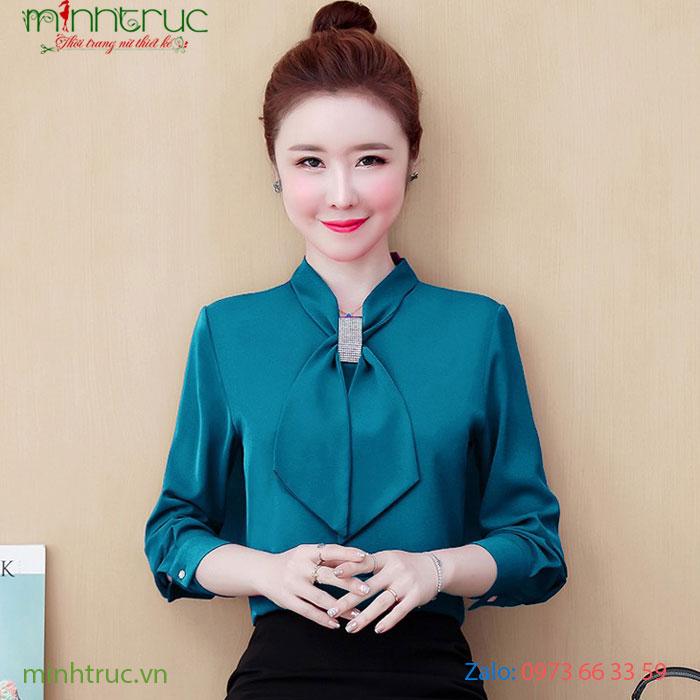 Áo kiểu nữ thắt nơ màu xanh