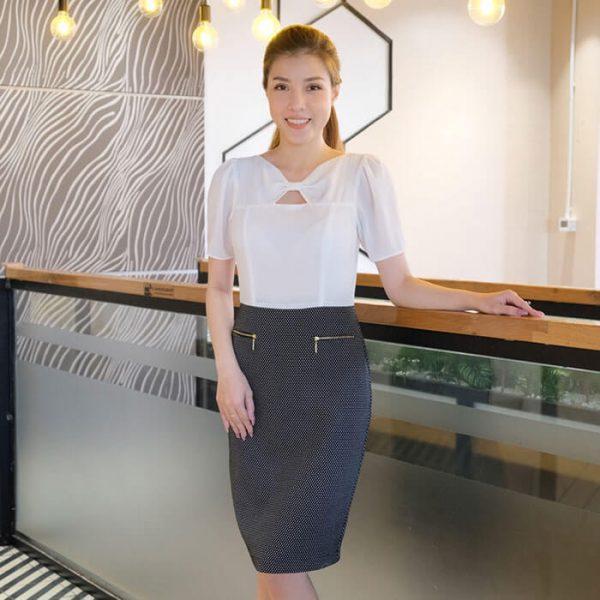 Đầm công sở ôm body cổ nơ siêu nịnh dáng phối đen trắng