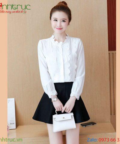 Áo kiểu nữ cổ tròn viền ren màu trắng