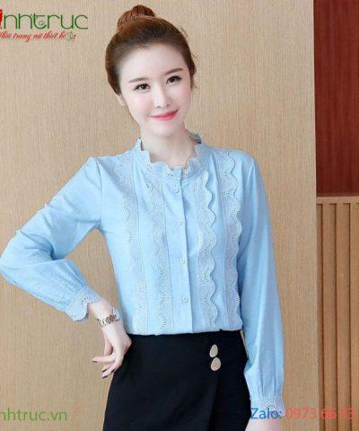 Áo kiểu nữ cổ tròn viền ren xanh biển nhạt